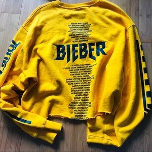 Justin Bieber Yellow Cropped Tour Hoodie